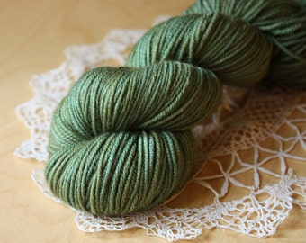 Hand Dyed Yarn / Sportweight Sport Weight / Moss Mossy Green Mocha Grey Sherwood Sportif / Superwash Merino Wool / Ready to Ship