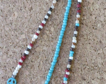 Hand Beaded Triple Strand Hair Clip With Seed Beads And Cross And Peace Signs