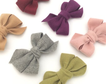 Wool Bows, Wool Hair Clips, Wool Hair Bows, Hair Bows, Baby Hair Bows, Infant Hair Clips, Fall Wool Bows, Newborn Hair Bows,