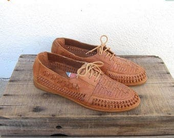 15% Off Out of Town Sale 90s 80s Mens Huaraches Woven Tan Leather Brogue Sandals Summer Shoes Mens Size 9, Ladies 11