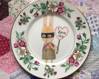 Bandit Bunny Boy I Love You Vintage Illustrated Plate