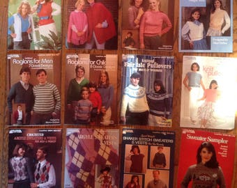 Vintage 1980's Leisure Arts Leaflet Knit Crochet Magazine Lot Instructions Patterns