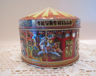 Churchill's Confectionary of London Carousel Vintage Tin - Highly Collectible Vintage Tin