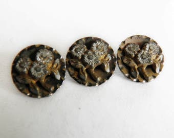 Vintage Metal Buttons Steel Flowers on Brass