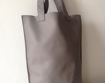 Grey Leather Tote Bag/Shopping Bag