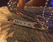 """Safety Pin Solidarity Necklace- """"Safe W Me"""""""
