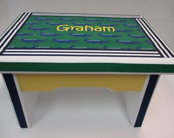 Sturdy  Bench- Green and Navy Alligator Theme