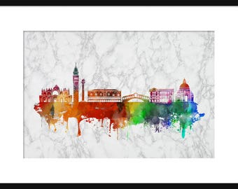 Venice Italy Skyline Print Poster Marble