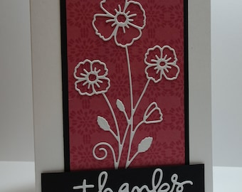 Handmade Floral Thank You Card in White, Black & Maroon
