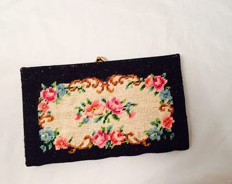 Floral Tapestry Snap Clutch Purse, Petit Point Embroidered, Kiss Closure, Brass Frame, Satin Lining