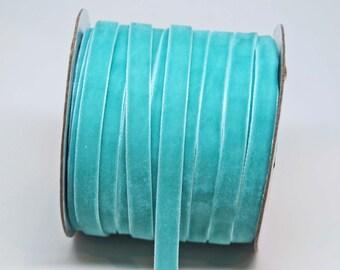 Velvet Woven Ribbon Trim -- 3/8 inches -- Robins Egg Blue