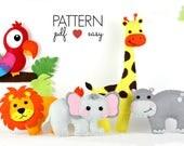 Stuffed Animal Pattern Set, Felt Jungle Pattern, Safari Toy Pattern, Zoo, Lion, Giraffe, Hippo, Elephant Pattern  Baby Mobile