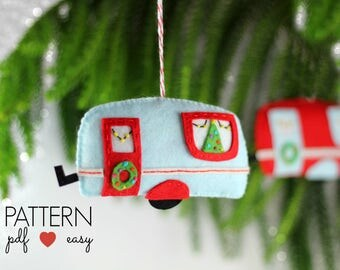 Christmas Pattern, Travel Trailer Decor, Felt Christmas Ornament Pattern, Decoration Sewing Pattern, Trailer Decor, Vintage Camper