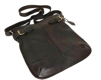 Black Genuine Leather Messenger Bag Vidal // Leather Cross-body Bag
