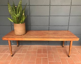 Vintage Mid-Century Slat Table/Bench