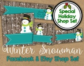 Christmas Etsy Banner Set - Winter Snowman Shop Banner - Holiday Facebook Shop Graphics - Christmas Banner  - Snowman Etsy Banner - Facebook