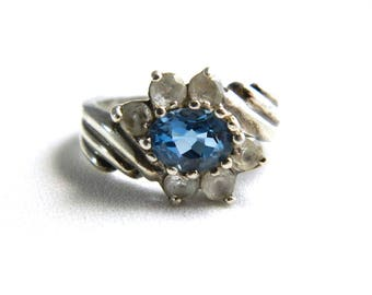 Vintage Sterling Silver Blue Topaz Flower Cocktail Ring - Blue & Clear Cubic Zircons - December Birthstone - Size 8