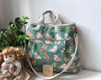 Waterproof-2 way Cross Body Bag /Fall Messenger Bag / Diaper bag / Handbag / Tote / Leather straps / Women messenger / Travel bag-bird
