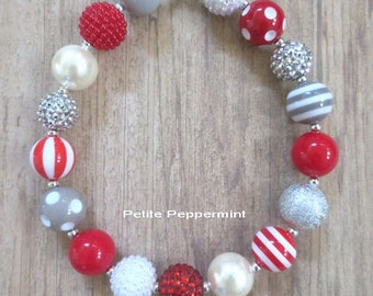 Red Silver Girl Necklace, Baby Chunky necklace, toddler necklace, necklace for girls, chunky bead necklace, bubblegum necklace