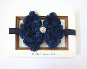 Navy Blue Baby Headband, Baby Hair Bow, Newborn headband, toddler headband, girl hair bow headband, infant head band,