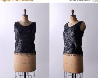25% OFF 1960 sequin top. black. 60's beaded blouse. tassel beads. wool. 60 sleeveless top. m.
