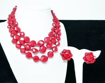 Christmas Red Necklace Earrings Set - Faceted Plastic beads, Red Multi strand necklace, Round Beaded Earrings, 1950s red clip ons