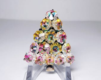 Vintage Rhinestone Christmas Tree Pin - Aurora Borealis Margarita Flowerette Winter Holiday Brooch - Mid Century 1950's 1960's Rhinestones