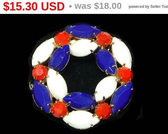 Spring Sale Red White & Blue Patriotic Vintage Brooch - Marquise and Red Chaton - Nice Vintage Round Brooch
