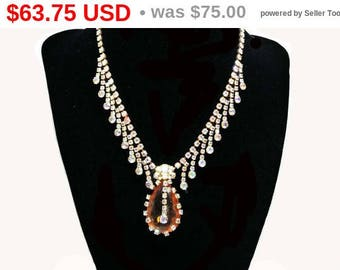 Spring Sale Vintage Topaz Rhinestone Necklace with Dangling Aurora Borealis in a Juliana Style