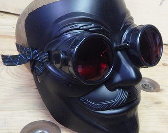 Black 'V for VENDETTA' 2 Pc Full Face 'Guy Fawkes' Mask w/Matching Detachable Goggles