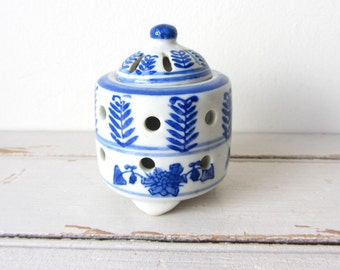 Vintage Footed Ceramic Potpourri Holder with Lid
