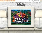 50% Off Today- Cat Art  Poster Print of  Painting  by Heather Galler (HG261)