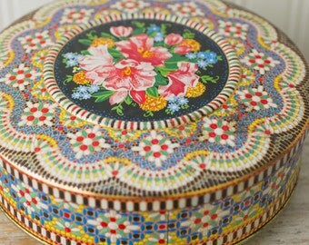 Vintage English  Decorative Tin, Mosaic Floral Round Storage Box, Daher Tin Box Company, Fancy Boho Treasure Box