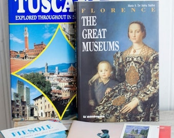 Vintage Italy Travel Books, Florence Museums, Tuscany Guide Book,