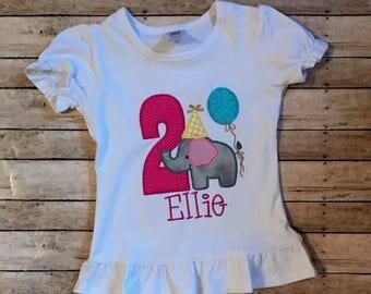 Elephant Birthday Shirt-Elephant Birthday Onesie- Elephant-Toddler Shirt- Birthday Shirt- 1st Birthday Shirt-Applique Shirt