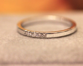 14k white Solid Gold Diamond Ring, Micro Set pave, Diamond Thin Band, WHITE GOLD, diamond stacking band