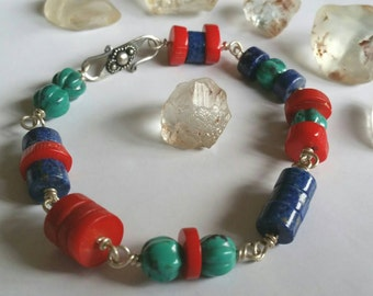 Buddhist inspired natural lapis lazuli red coral turquoise fine silver zen bracelet