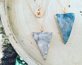 SPLENDOR // Triangle natural druzy agate pendant gold necklace layered set