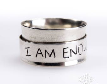 Inspirational Ring – Inspirational Message Ring – Motivational Ring – I Am Enough Ring – Spinner Ring – Fidget Ring – Custom Message Ring
