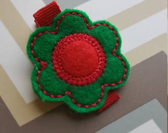 Red And Green Feltie Flower Hair Clip / Non Slip Hair Clip / Baby To Adult Hair Clip/  Ready To Ship