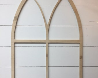 Liz Marie Vintage Inspired Tall Pointed Arch Window Wood Frame Unfinished