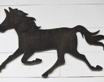 Large Wood horse Wall Art Nursery Kids Room