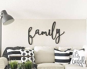 Family Word Wood Cut Wall Art Sign Decor
