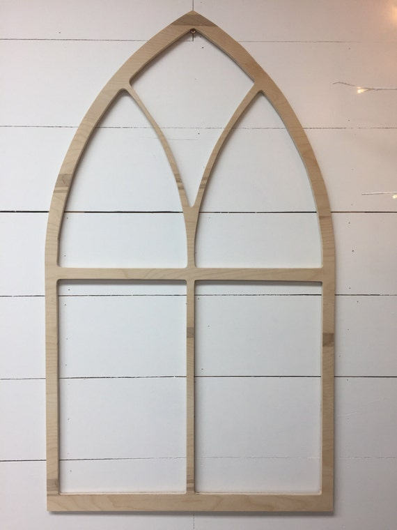 Vintage Inspired Tall Pointed Arch Window Wood Frame