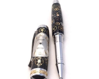 Handmade Pen - Steampunk Pen - Watch Pen - Carbon Fiber Pen - Rollerball Pen - Retirement Gift ** Gift for Dad * Birthday gifts * Gifts