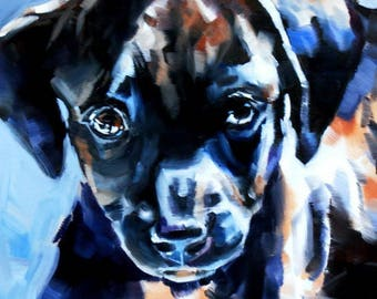 Labrador Retreiver art oil painting original puppy portrait black lab