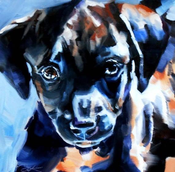 Labrador Retreiver art oil painting original puppy portrait black lab