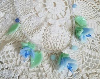 SOMETHING BLUE Wedding Glass Flower Romantic Fairy Necklace Jewelry