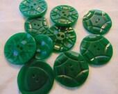 Ten Vintage Carved Green Sew Thru Buttons