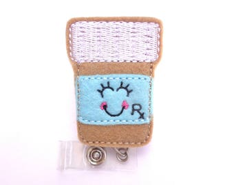 Nurse Badge Holder Retractable - Happy Prescription - felt prescription bottle aqua - pharmacy tech pharmacist badge reel pill bottle